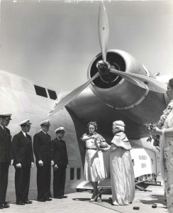 Helen Poindexter christens the Pan American Honolulu Clipper with coconut milk, 1939