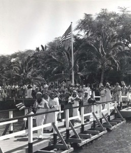 Christening party prepares to board the Pan American Honolulu Clipper. 1939