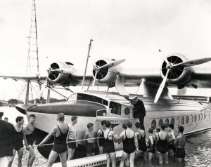 Commercial air service to Hawaii was inaugurated on April 20, 1935 with the arrival of Pan American Airways Clipper ship Pioneer Clipper at Pearl Harbor. Capt. Edwin C. Musick steps aground after piloting the plane on its epochal 18-hour flight from California.
