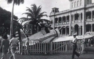 Plane at Iolani Palace Grounds, c1930s.