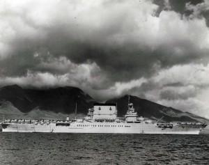 Aircraft carrier USS Lexington anchored off Lahaina, Maui to refuel, June 1, 1935.