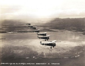 U.S. Army Air Corps Keystone bombers: 72nd bombardment Sq. formation over Koolaus February 26, 1932