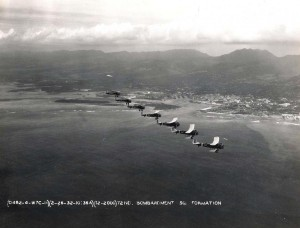 U.S. Army Air Corps, 72nd Bombardment Squadron formation over Honolulu Harbor February 26, 1932.
