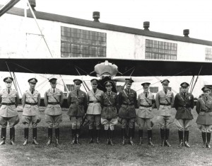 18th Pursuit Group, Wheeler Field, 1930s. Lts James Walsh, Jack Kirkendall, Ray Culberson, 19th Pursuit Sq; Capt Strickland, 19th PS Comdr; Capt Vern; Maj. Carl Wash, Grp Comm; Lt. Rex Stoner, Group Adjustant; Lt Clarence Crumrine, 6th Pursuit Sq; Lt. Hoyt Vandenberg, 6 PS Comdr; Lts. Moggy Towle.