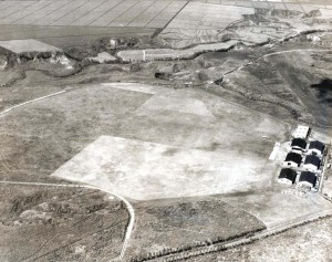 Wheeler Field, Oahu, October 15, 1930, with railroad in place and first hangars constructed.