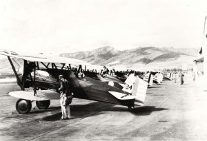 P-12 aircraft at Wheeler Field flight line. Note that 4th acircraft from left appears to have same tail markings as the restored P-12 at Air Force Museum, c1933-1939.