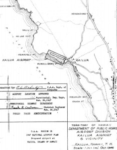 CAA Region IX 1947 National Airport Plan, Proposed airport at Kailua, Hawaii, February 26, 1947.