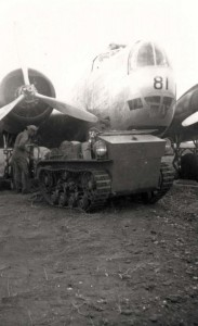 B-18 from Hickam being rigged for towing at Morse Field, Hawaii, 1941.