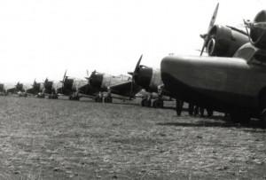 Grumman OA-9 and P-36 from Wheeler Field, at Morse Field, Hawaii, 1941.