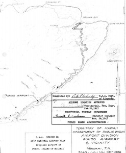 CAA Region IX, 1947 National Airport Plan, Proposed airport at Pukoo, Molokai, February 26, 1947.
