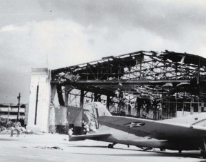 B-18 outside of Hangar 11 at Hickam Field after December 7, 1941 bombing.