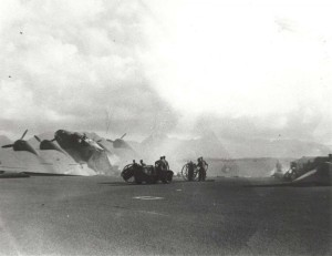 Flight line at Hickam Field, December 7, 1941 during bombing.