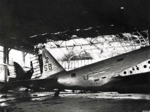 Plane was damaged inside hangar at Hickam Field, December 7, 1941.