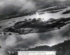 First bomb drop at Pearl Harbor, December 7, 1941.
