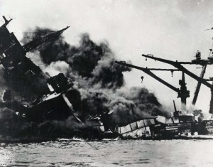 Pearl Harbor under attack by Japanese bombers, December 7, 1941.