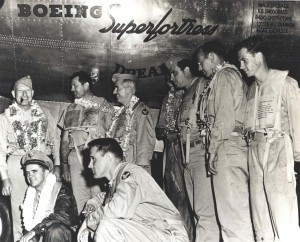 Col. Clarence Irvine and crew flew B-29 Dreamboat from Hickam Field to Cairo, nonstop in 39 hours and 36 minutes. They flew 9,444 miles via the North Pole, from Hawaii to Alaska, Iceland, and Cairo, October 1946.
