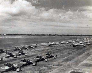 P-26 aircraft of the 18th Pursuit Group and B-18 bombers of the 5th Bombardment Group on ramp at Hickam Field, 1940.