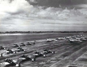 P-26 on flight line at Hickam Field, 1940.