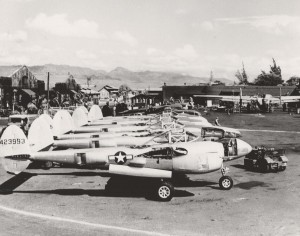 Lockheed P-38 Lightning after being cleaned at the Hawaiian Air Depot, Hickam Field. Engines and wings have not been installed, August 1944.