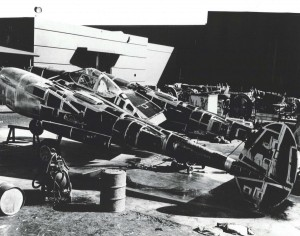 Lockheed P-38 Lightning aircraft before their wings and engines were installed, August 1944.