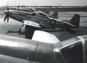 North American P-51 Mustangs on flight line at Hickam Field, April 26, 1944.