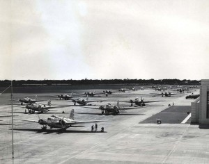 Bombing planes line up on the apron at Hickam Field.