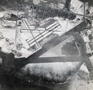 Honolulu Airport, August 1948. Dredged sealanes are in foreground.
