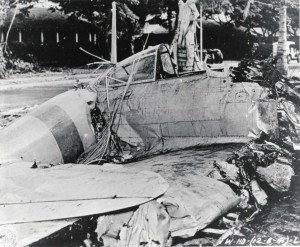 Japanese zero shot down at Fort Kamehameha, Oahu, December 7, 1941.
