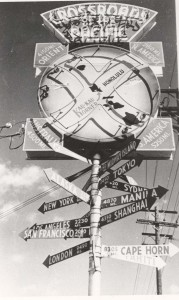 Cross Roads of Pacific sign at Kau Kau Korner restaurant, Honolulu, 1940s.