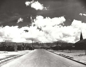Barrage balloon floating over Fort Kamehameha during World War II.