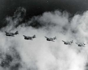 Flight of O-47 aircraft, Bellows Field, c1941.
