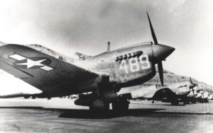 P-40N aircraft of the 333rd Fighter Squadron, 318th Fighter Group on flight line at Bellows Field, 1943.