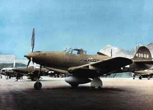 P-39Q aircraft of 333rd Fighter Squadron on flight line at Bellows Field, 1943.