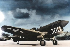 P-40 with Winnie LaVerne at controls on Bellows Field flight line, 1943.