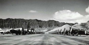 Pilots and crew chiefs stand in front of their Republic P-47s lined up for inspection at Bellows Field, May 16, 1944.