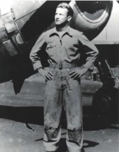 Maj. Paul Fojtik, 333rd Fighter Squadron Commander, in front of P-47, Bellows Field, early 1944.