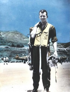 Lt. Harry Vaughn of the 333rd Fighter Squadron, Bellows Field, clad in typical dress gear worn by pilots in the Pacific area in early 1944.