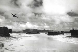 Beach assault training at Bellows Field with P-39 aircraft, c1944-1945.