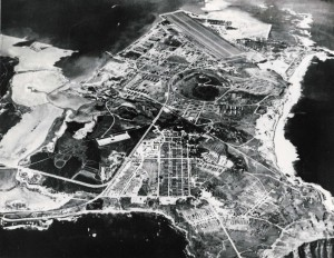 Naval Air Station Kaneohe, January 1945. Note fish ponds prior to new access road.
