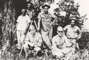 Capt. Wilfred H. Tetley, Commander of Signal Company Aircraft Warning, Hawaii, and Capt. Kenneth P. Bergquest of 14th Pursuit Wing, Wheeler Field, with members of radar site survey team, 1941.