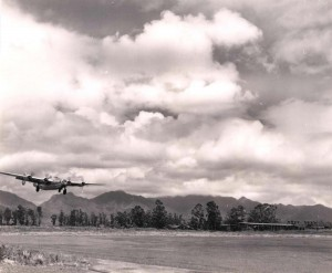 B-24 aircraft landing at Wheeler Field, 1945.