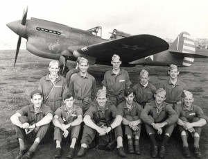 72nd Pursuit Squadron January 1942. In front of P-40E aircraft at Wheeler Field. Front: Lts. W. MJ. Waldman, J. H. Powell, James O. Beckwith (Squ Comm & pilot), R. R. McCabe, J. R. Sawyer, W. J. Ferber. Back: Lts. W. F. Haney, Wigley, W. P. Martin, J. A. Cox, J. S. Simonton.