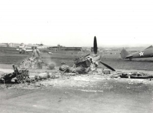 Wrecked P-40s on Wheeler Field flight line, December 7, 1941.