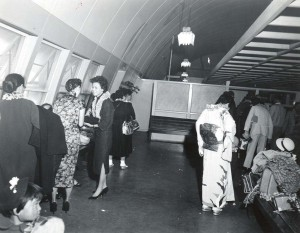 Foreign arrivals waiting area, Honolulu International Airport, 1955.