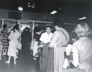 U.S. Immigration Service at Honolulu International Airport, 1955.