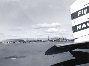 Hawaiian Airlines at Honolulu International Airport, 1959.