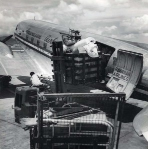 Hawaiian Airlines at Honolulu International Airport, 1950s.