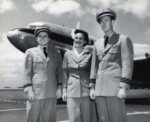 Hawaiian Airlines crew at Honolulu International Airport, 1950s.