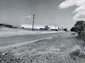 Old quonset huts at Honolulu International Airport, 1959.