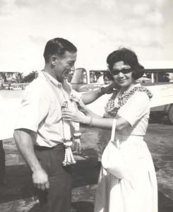 Capt Charles Banfe & Lada Cheruvastr wear Governor Quinn's Hawaiian lei and the Tourist Organization of Thailand's jasmine garland.